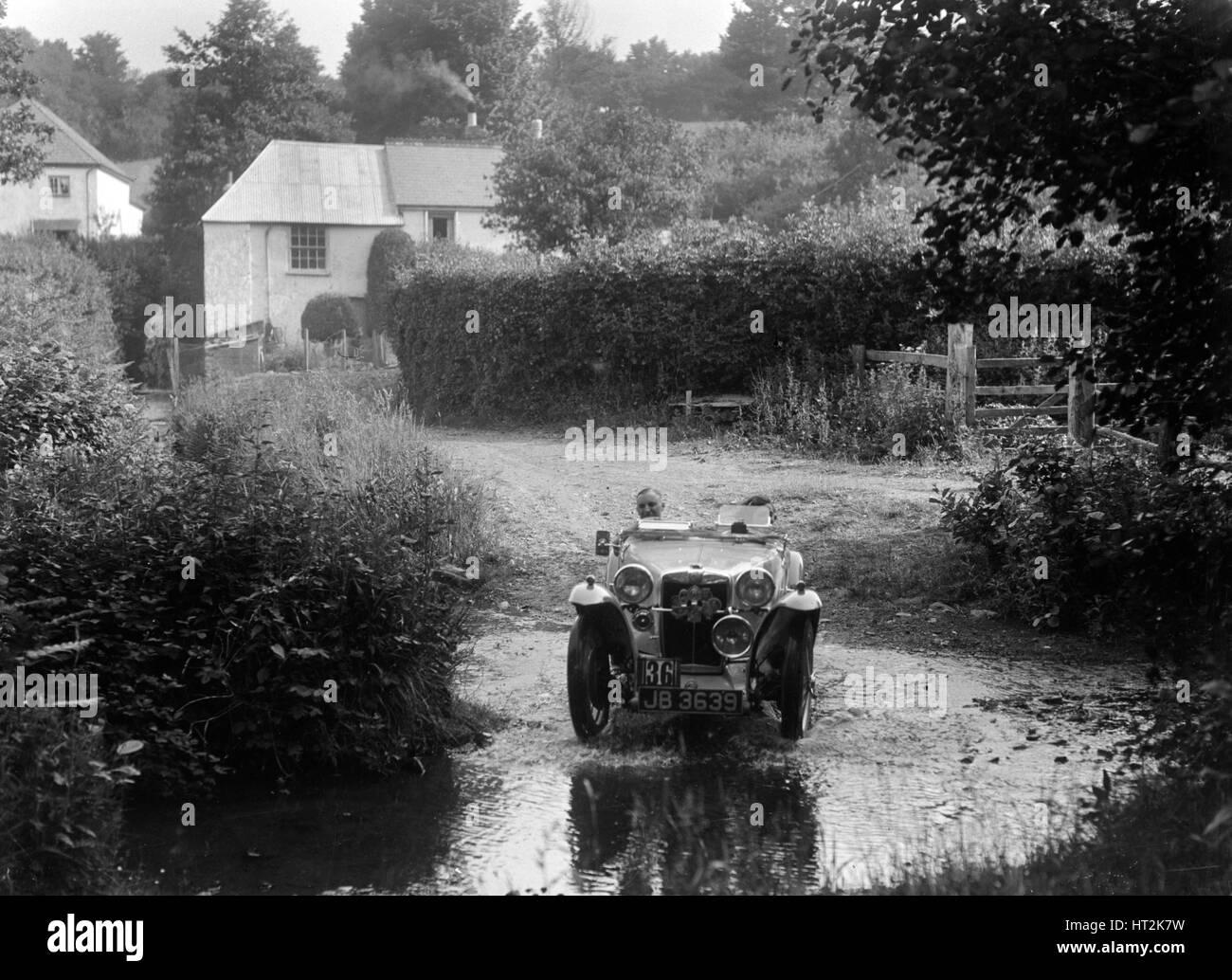 MG PA of RA MacDermid, B&HMC Brighton-Beer Trial, Windout Lane, near Dunsford, Devon, 1934. Artist: Bill Brunell. - Stock Image