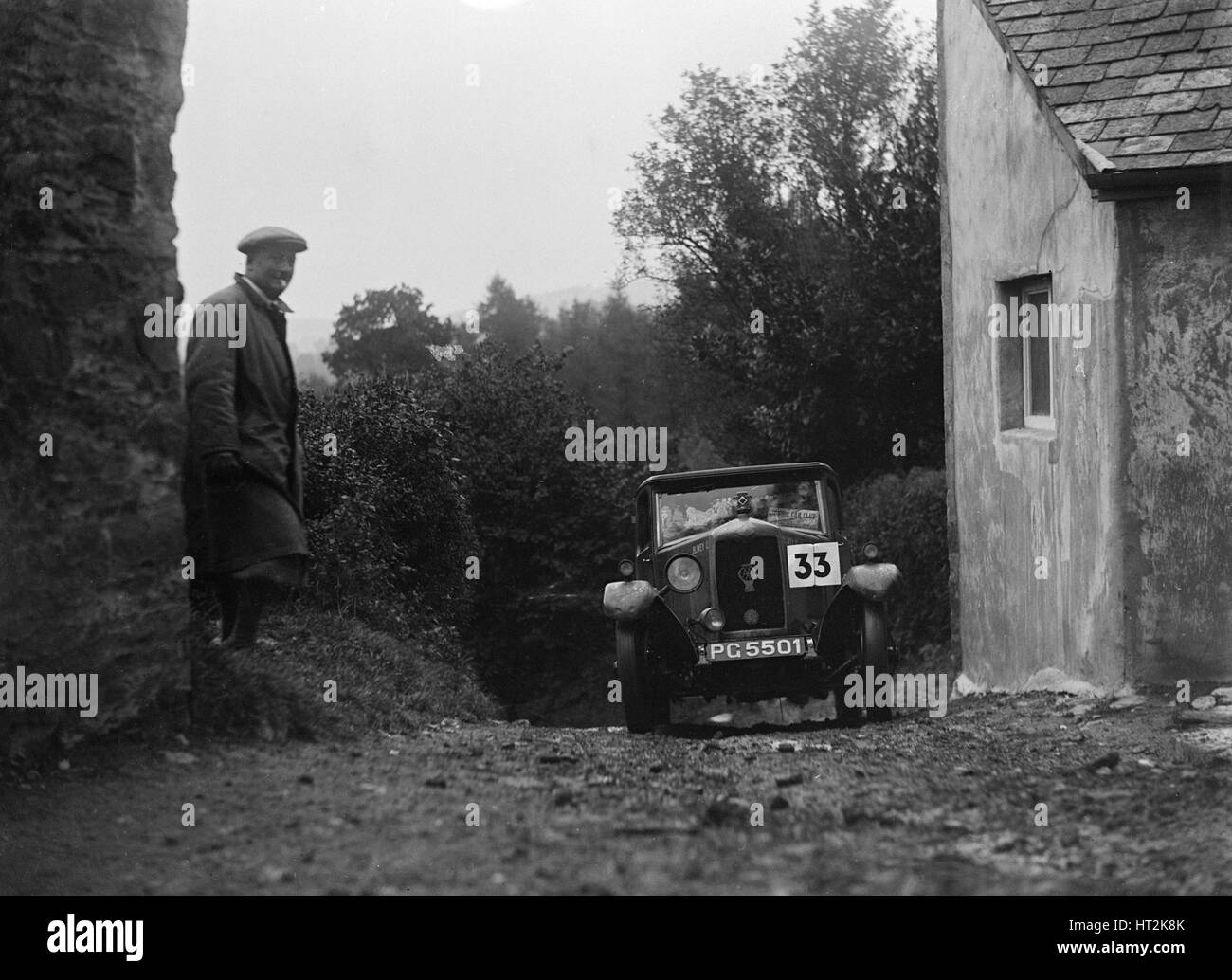 1929 Riley saloon of AP Squire competing in the JCC Lynton Trial, 1932. Artist: Bill Brunell. - Stock Image