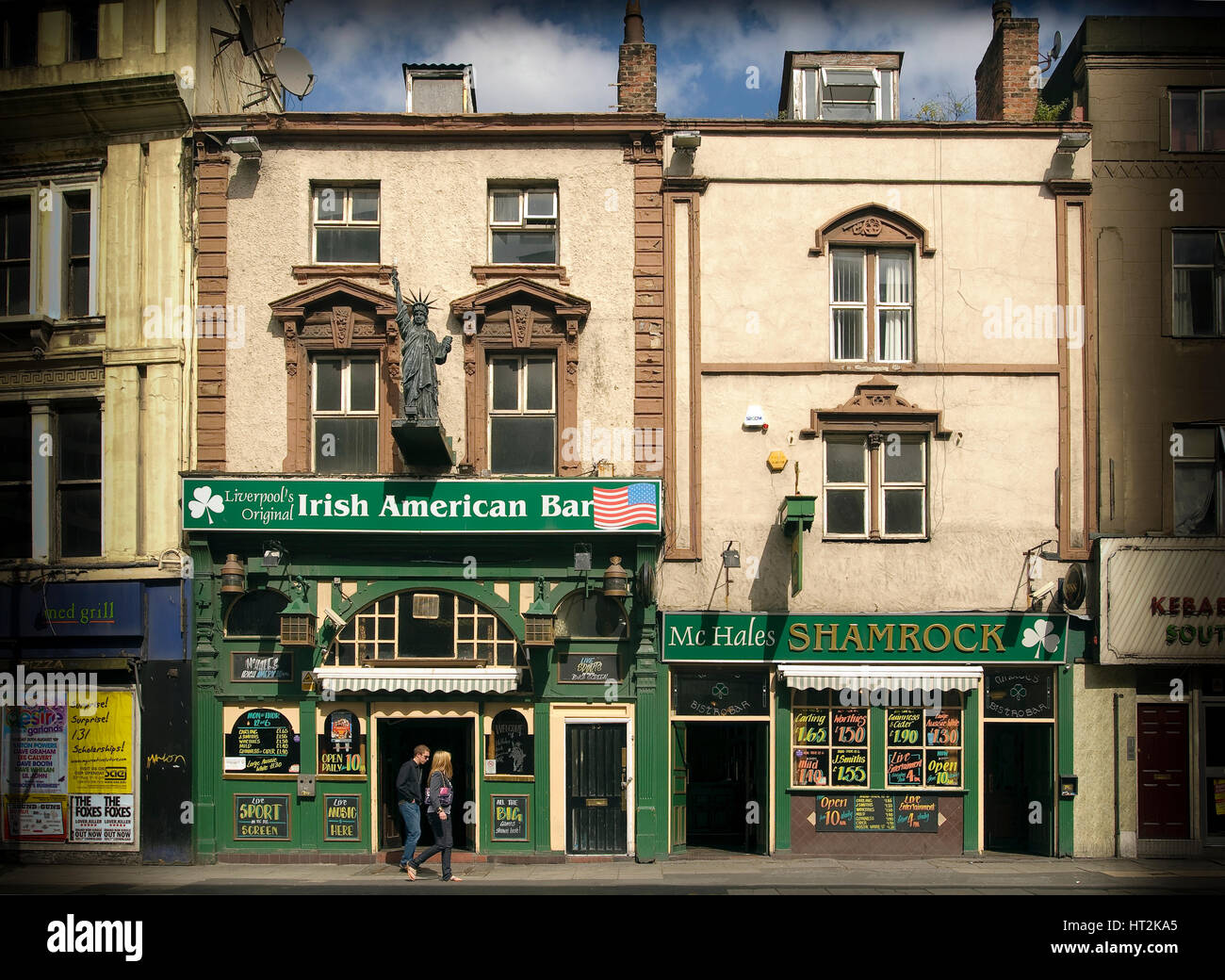The two Irish bars in Lime street Liverpool. - Stock Image