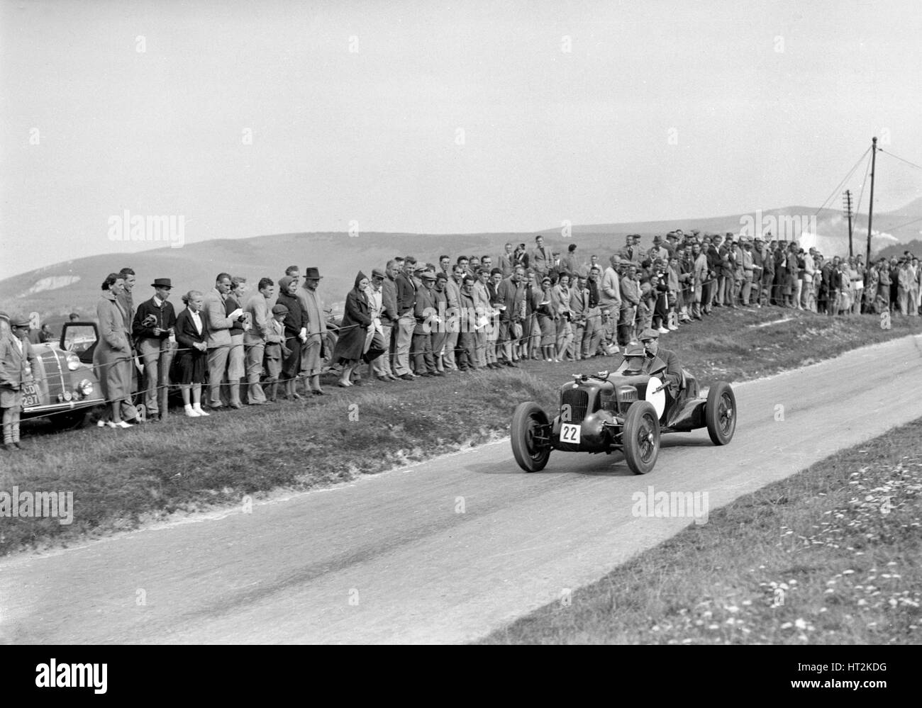 MG R type of Sir Clive Edwards competing at the Lewes Speed Trials, Sussex, 1938. Artist: Bill Brunell. - Stock Image