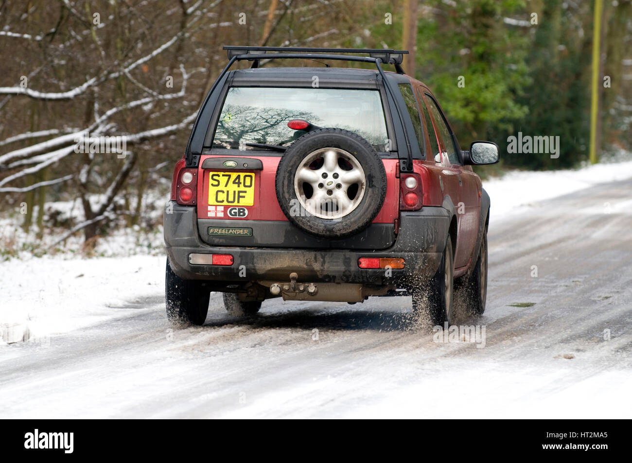 1998 Land Rover Freelander driving on icy road 2009 Artist: Unknown. - Stock Image