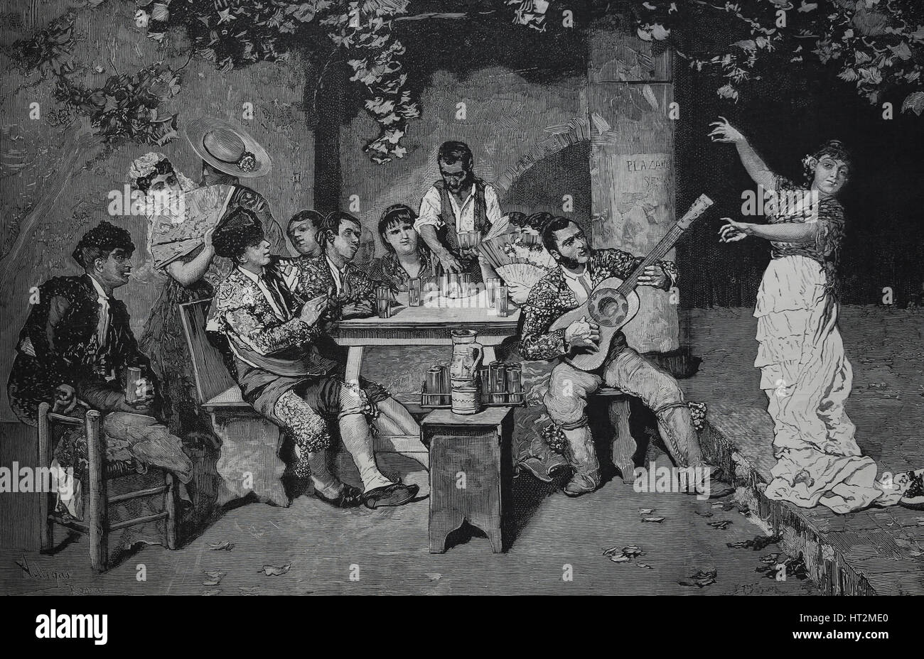 Spain. Bullfighter party. Drawing of a painting by Jose Villegas. The Spanish and American Illustratio, 1882, Spain. - Stock Image