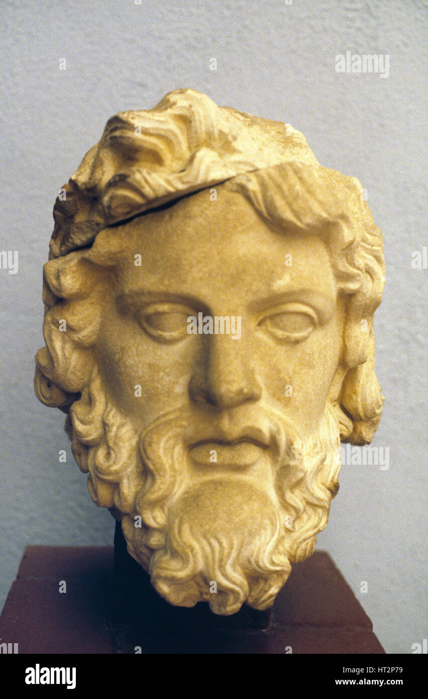 Marble Head of Zeus, Greek God of Sky and Thunder, from the Roman Flavian Dynasty (69-96AD) Period. From near Selcuk Stock Photo