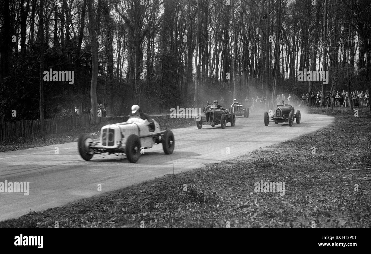 ERA, Vale Special of Ian Connell, Bugatti and MG Q type, Donington Park, Leicestershire, c1930s. Artist: Bill Brunell. - Stock Image