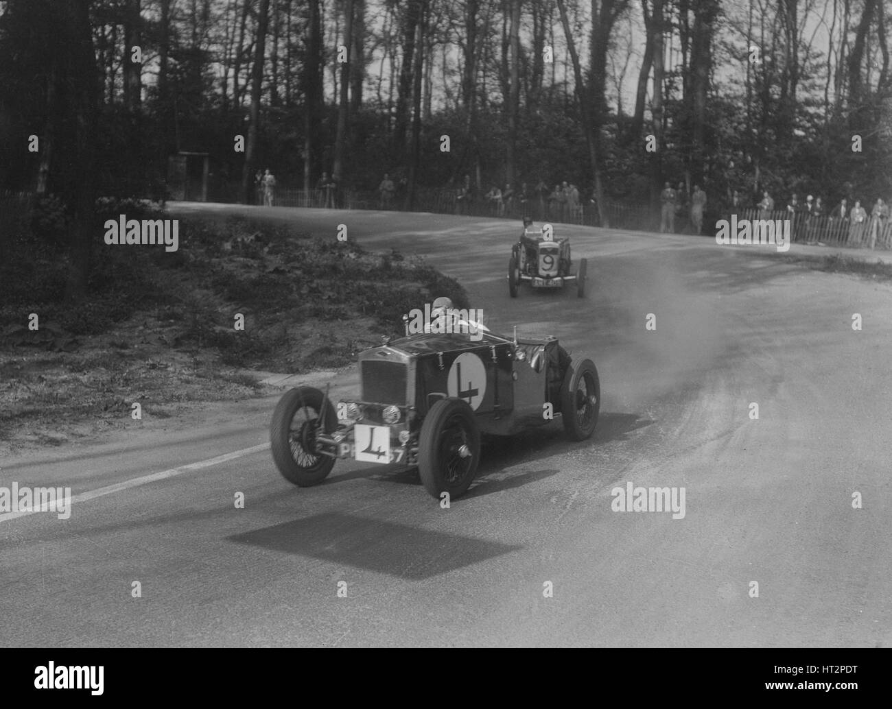 Two Frazer-Nash cars racing at Donington Park, Leicestershire, 1930s ...