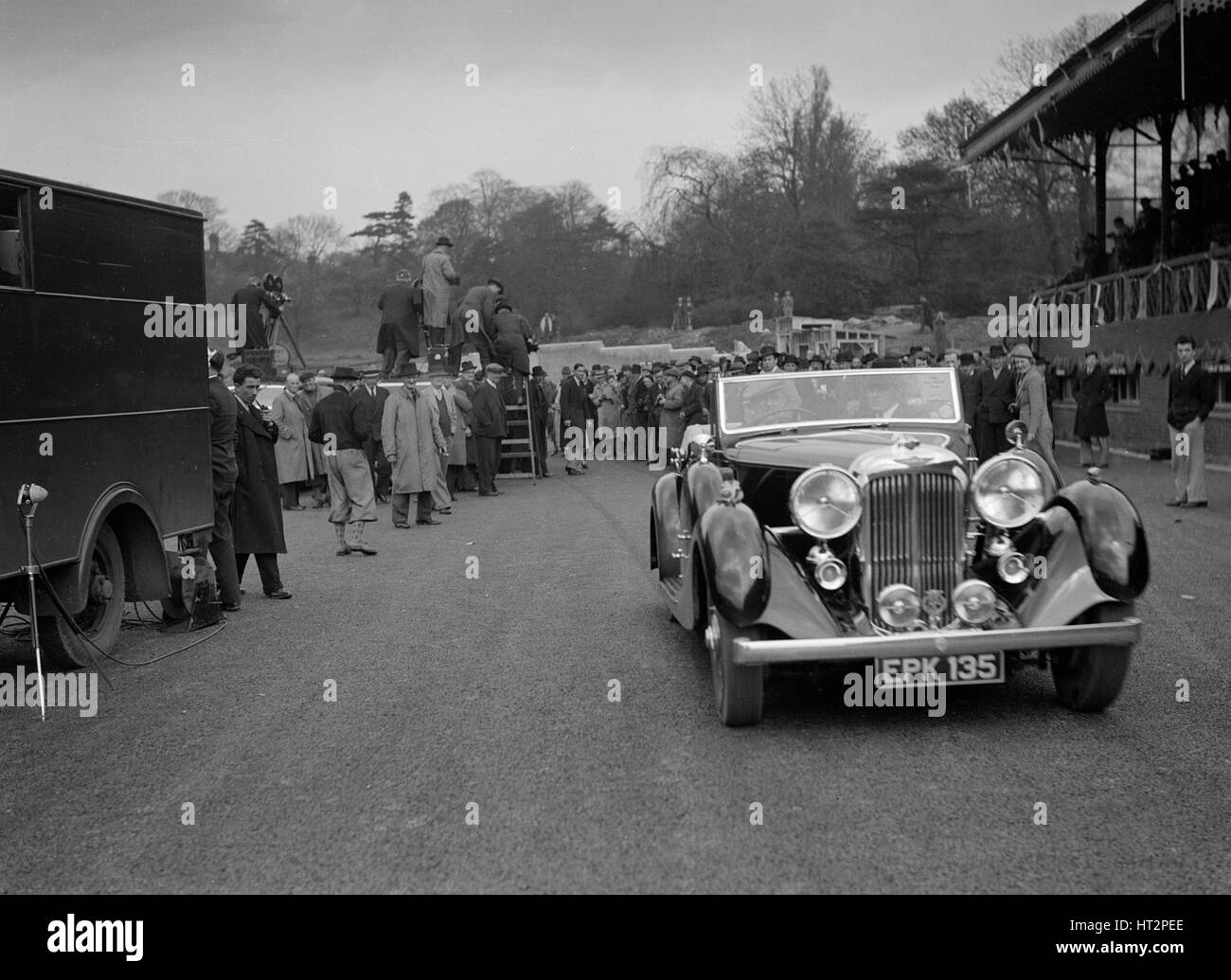 Lagonda open 4-seater tourer, possibly owned by Earl Howe, Crystal Palace, London, 1939. Artist: Bill Brunell. - Stock Image