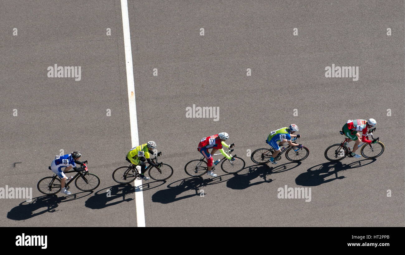 Sochi, Russia. 6th Mar, 2017. Participants in the men's group cycling event as part of the All-Russian Cycling - Stock Image