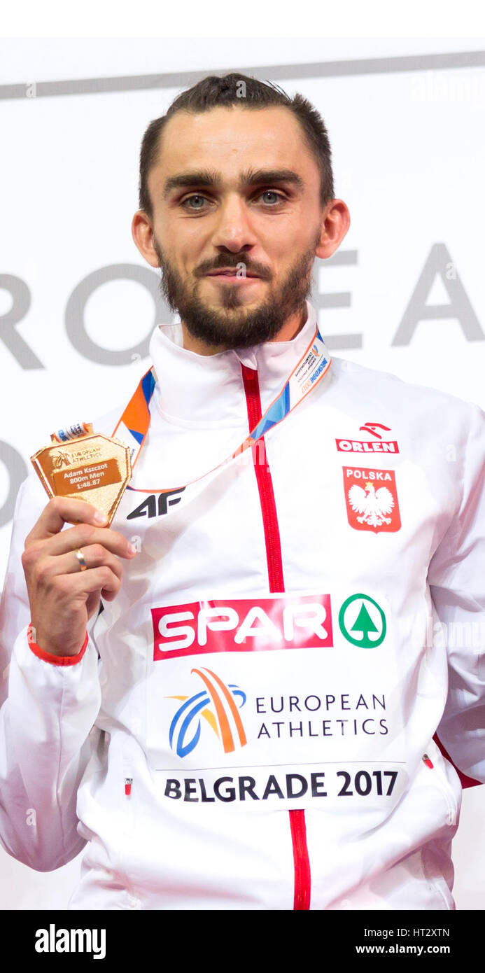 Belgrade, Serbia. 6th Mar, 2017. Poland's gold medal winner Adam Kszczot pose on the podium during the victory - Stock Image