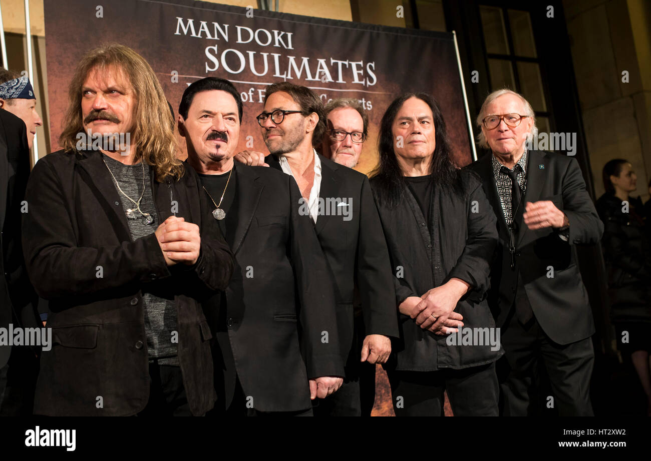 Berlin, Germany. 06th Mar, 2017. Leslie Mandoki, (Dschingis Khan) singer Germany, Bobby KIMBALL ( singer Toto), - Stock Image