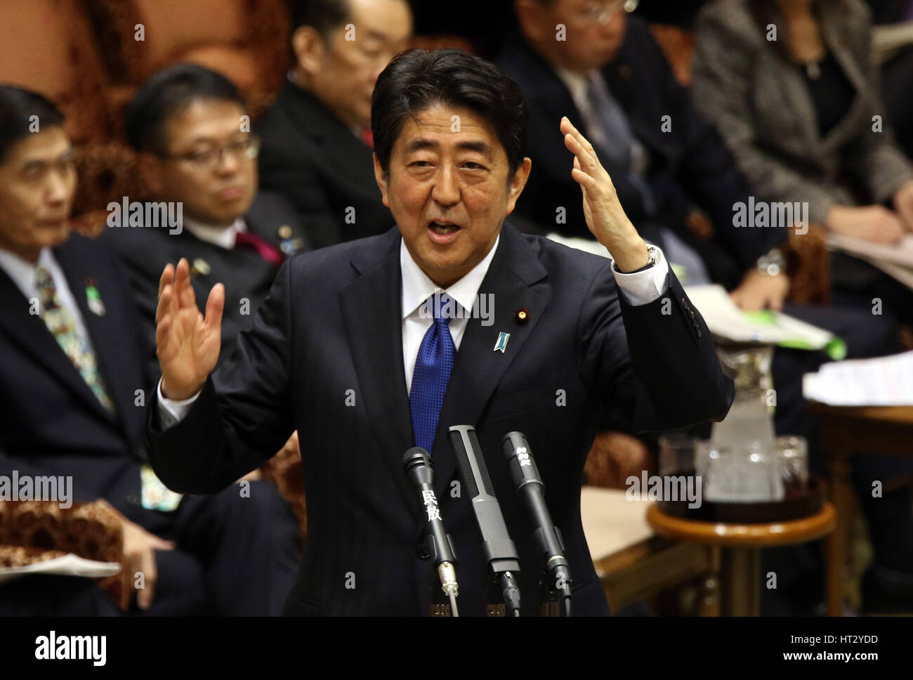 Tokyo, Japan. 6th Mar, 2017. Japanese Prime Minister Shinzo Abe answers a question by an opposition lawmaker at - Stock Image