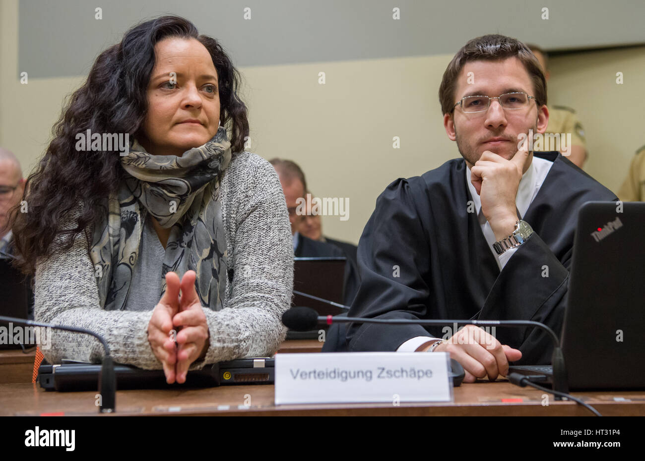 The Accused Beate Zschape Sits Next To Her Lawyer Mathias Grasel In The Court Room In The Higher Regional Court In Munich Germany