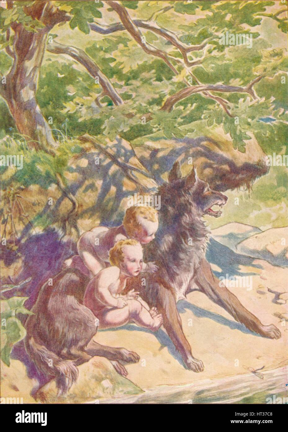'Down to the river presently came a she-wolf to drink', c1912 (1912). Artist: Ernest Dudley Heath. - Stock Image