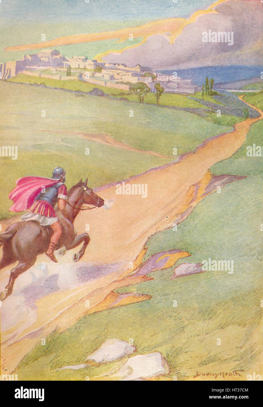 'A messenger was seen spurring his horse toward the city', c1912 (1912). Artist: Ernest Dudley Heath. - Stock Image
