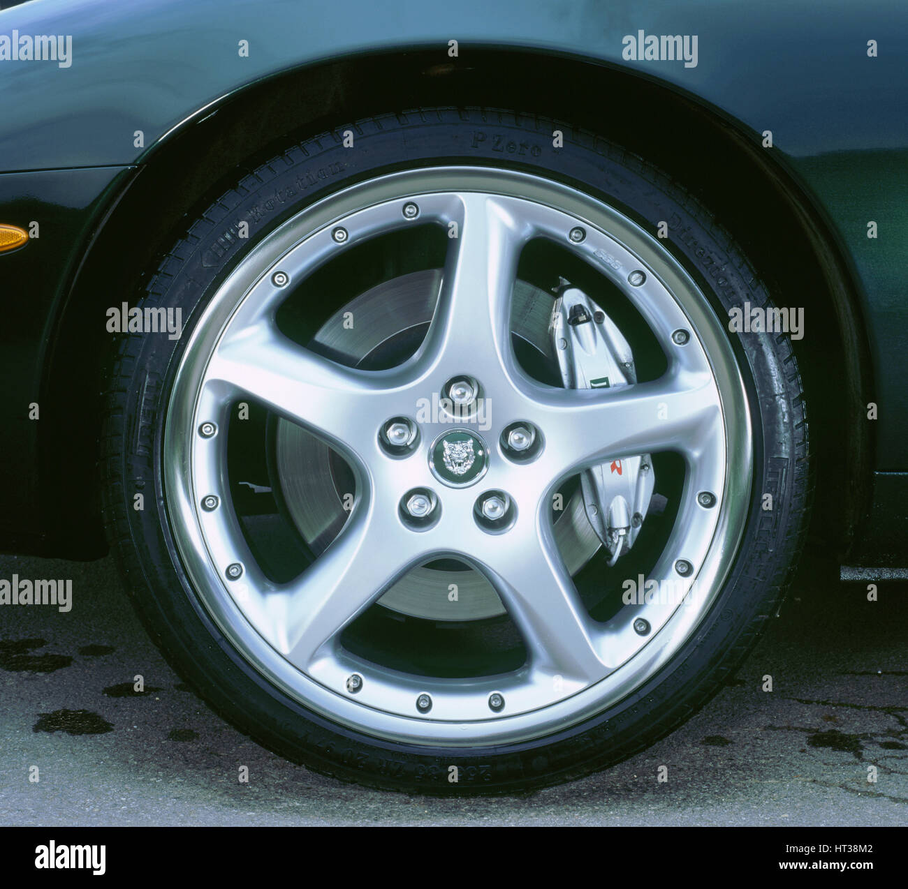 2002 Jaguar XKR convertible alloy wheel. Artist: Unknown. - Stock Image