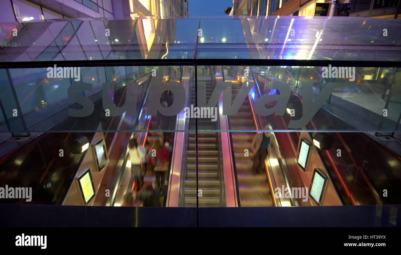 Glasgow Subway or underground escalators entrance Buchanan street - Stock Image
