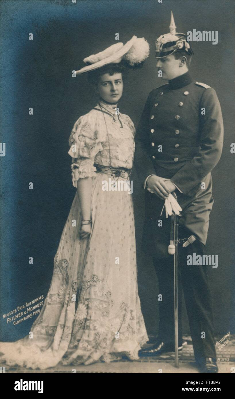 'German couple. With male in dress uniform', 1906. Artist: Unknown. - Stock Image