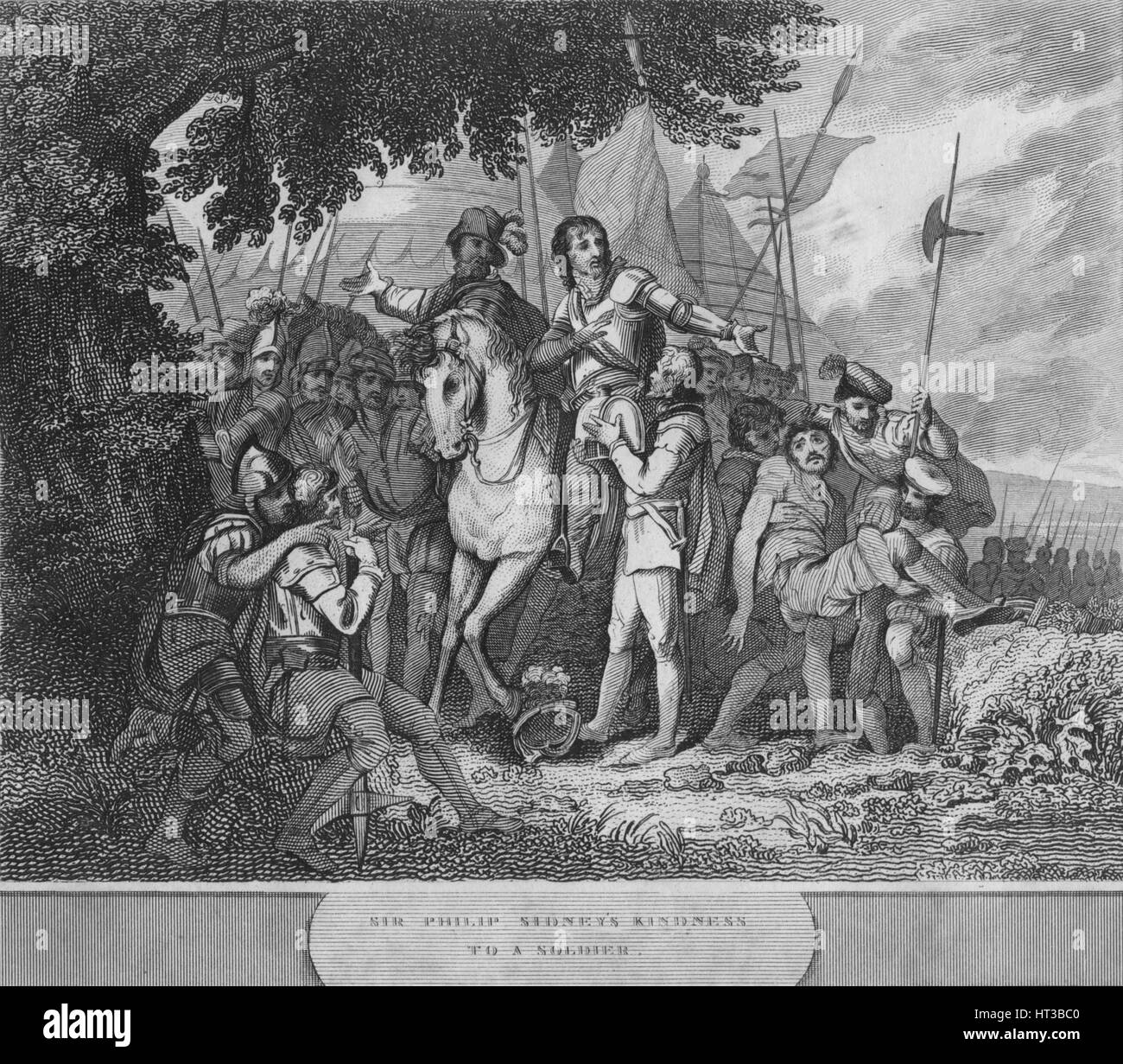 'Sir Philip Sidney's Kindness to a Soldier', 1815. Artist: Unknown. - Stock Image