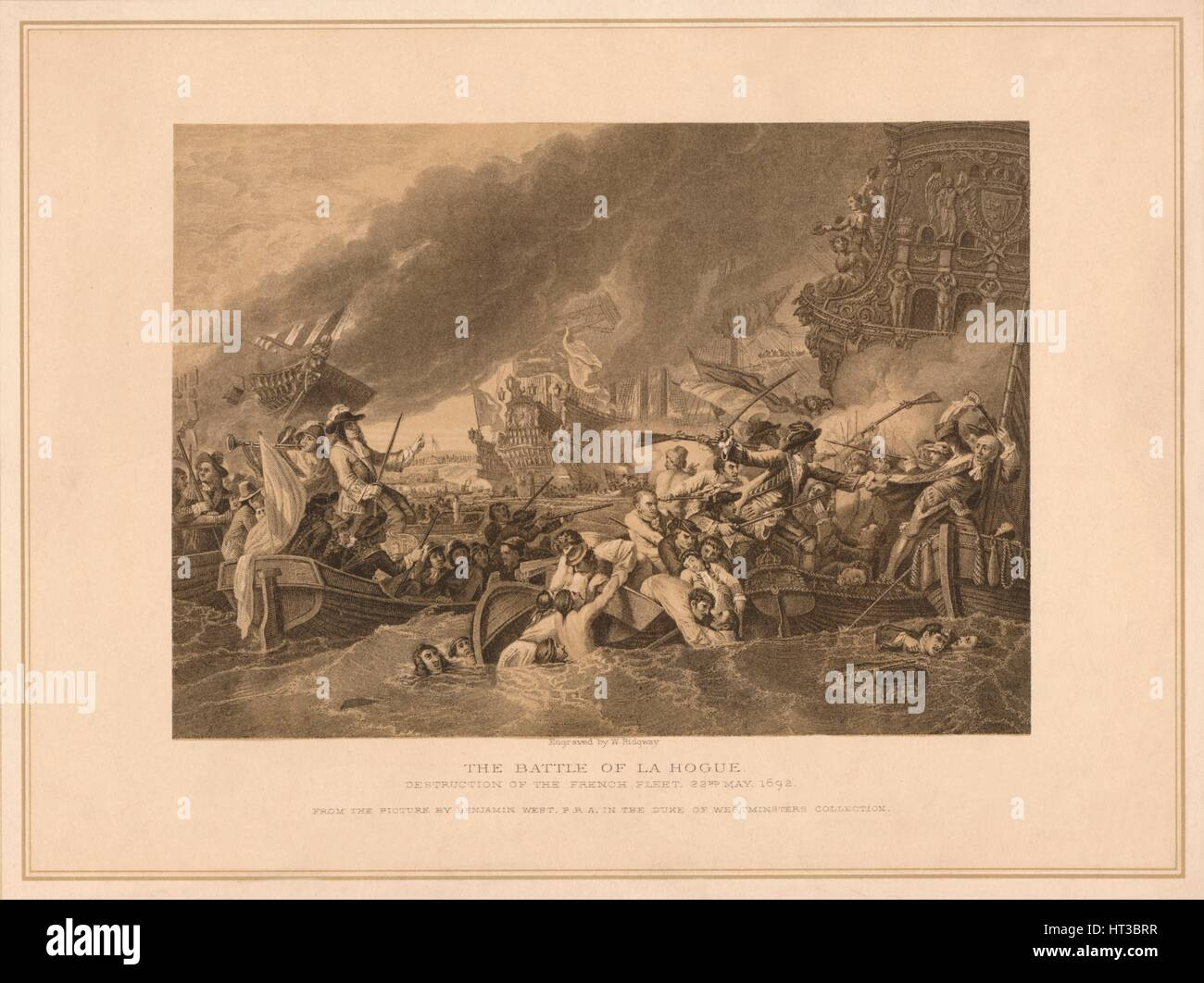 'The Battle of La Hogue', 1692 (1878). Artist: W Ridgway. - Stock Image