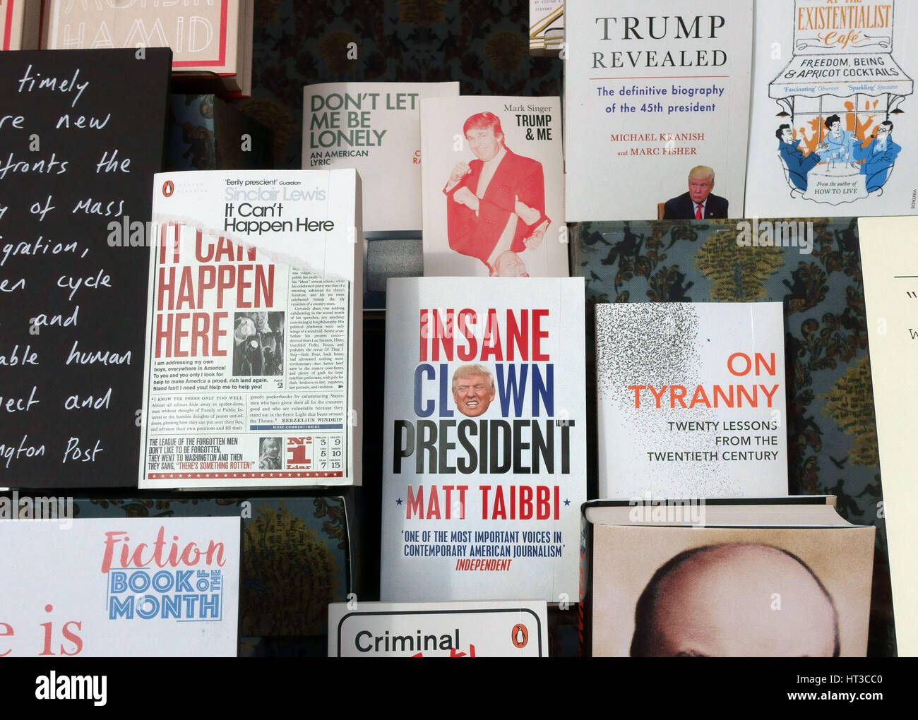 Books about President Donald J Trump in bookshop display, London - Stock Image