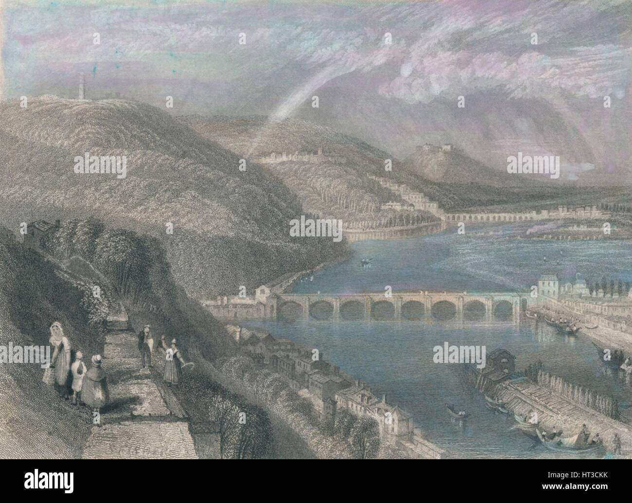 'Bridge of St. Cloud from Sevres', 1835. Artist: S Fisher. - Stock Image