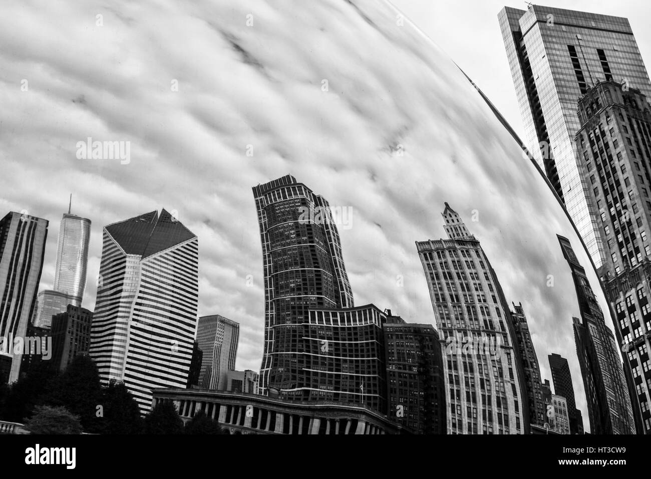 Chicago - Circa October 2009: Cloud Gate, also known as the Bean, in Millennium Park on a Cloudy Day I - Stock Image
