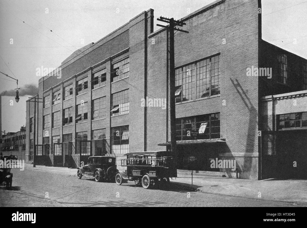 Exterior of kiln and mill building, West End Plant, Fisher Body Company, Detroit, Michigan, 1923. Artist: Unknown. - Stock Image