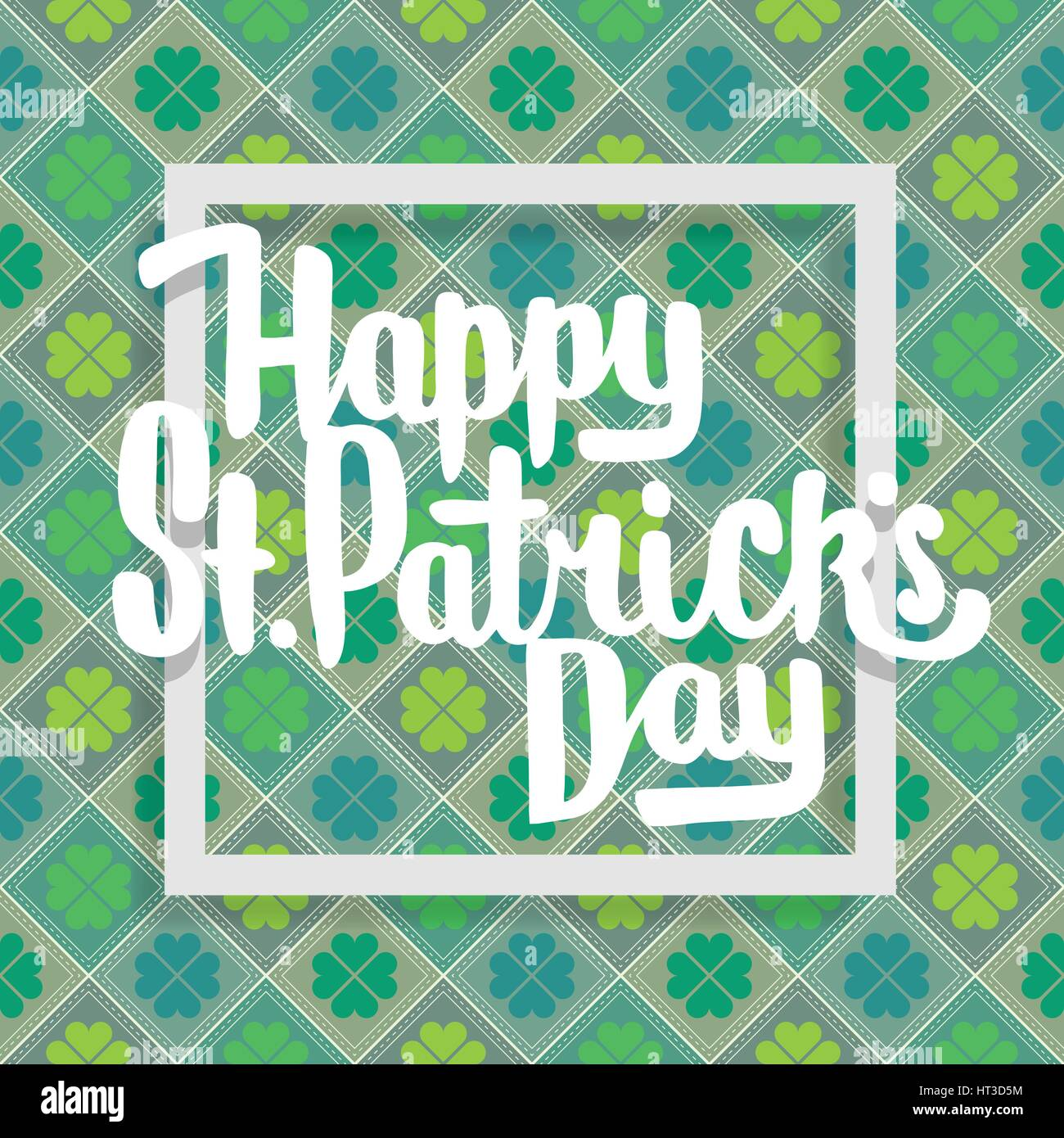 Happy Saint Patricks day lettering with clover. - Stock Image