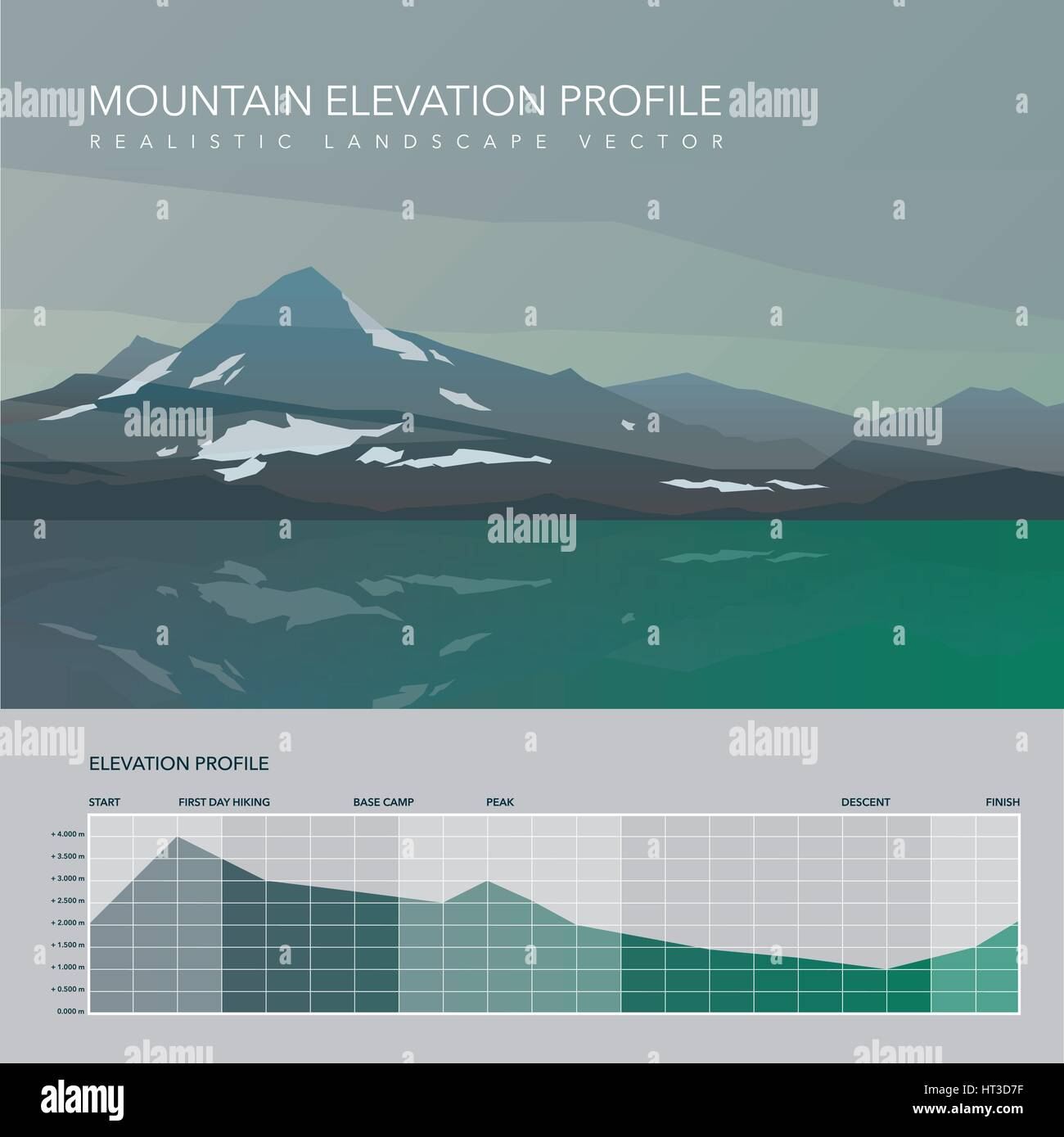 High mountain landscape elevation infographic. - Stock Vector