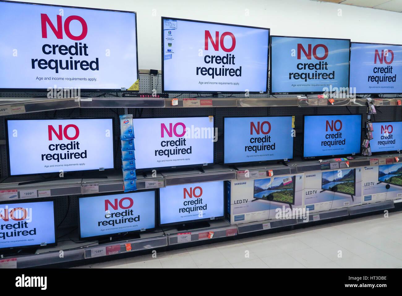 Flat Screen Tv Display At Kmart Nyc Usa Stock Photo