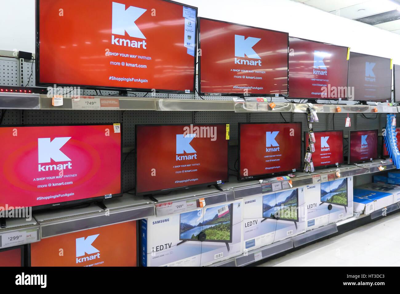 Flat Screen TV Display at Kmart, NYC, USA - Stock Image