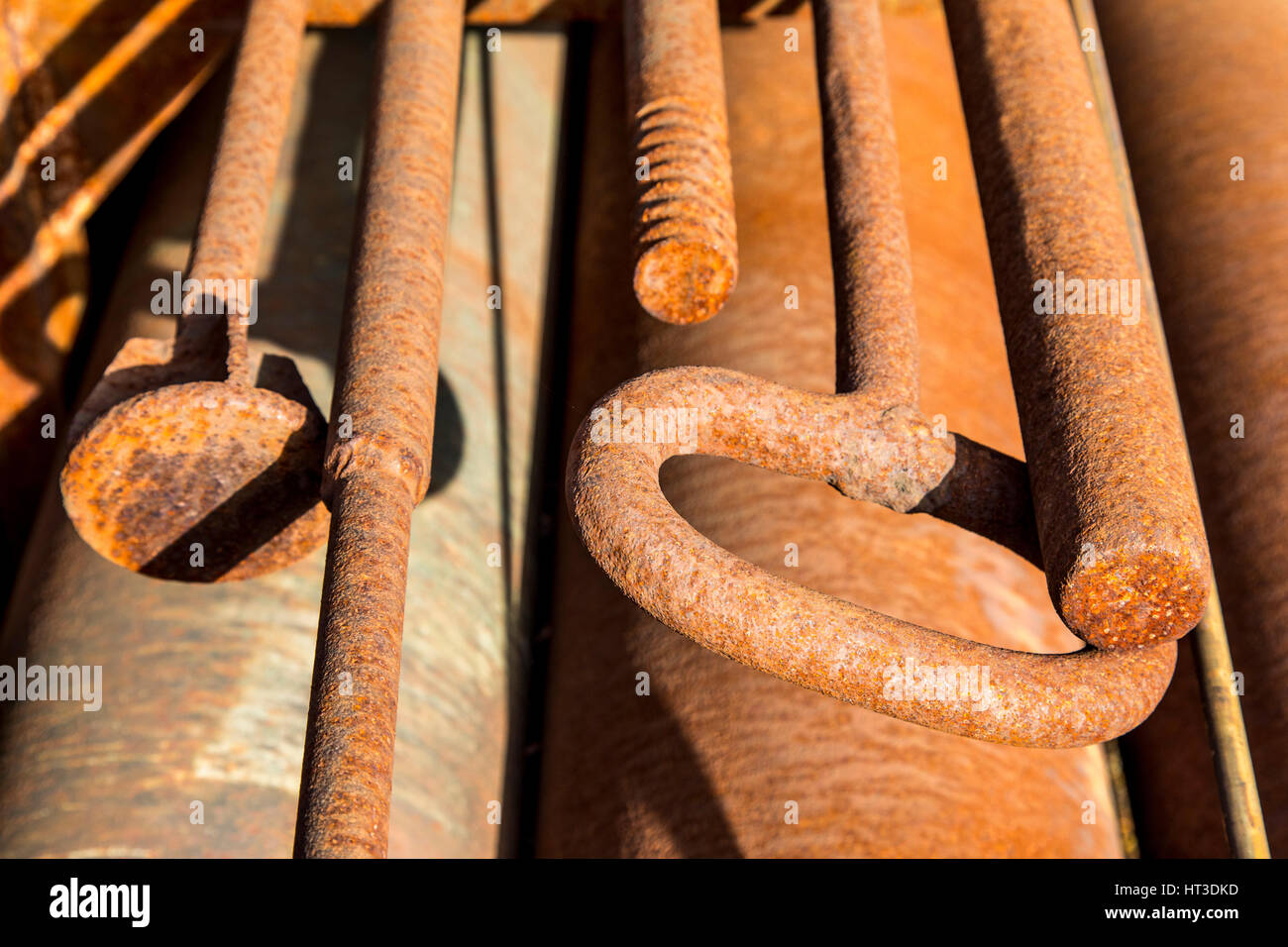 Rusty metal surface, structures, tools - Stock Image