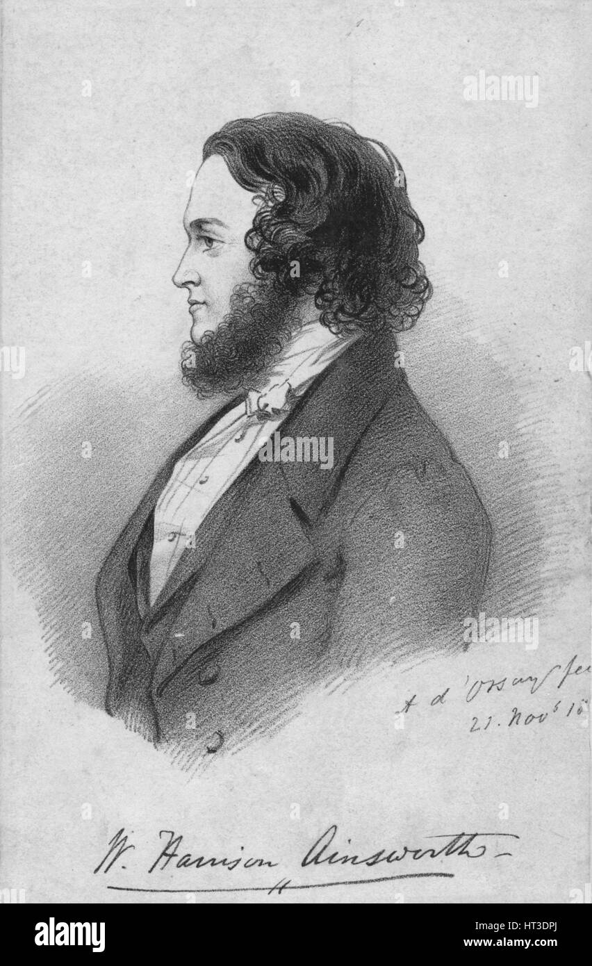 'Mr. Harrison Ainsworth', c1840. Artist: Alfred d'Orsay. - Stock Image