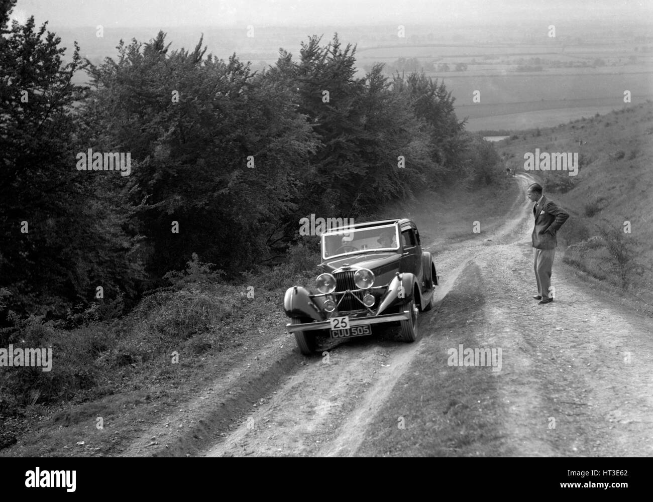 1936 Talbot 105 2969 cc competing in a Talbot CC trial. Artist: Bill Brunell. - Stock Image