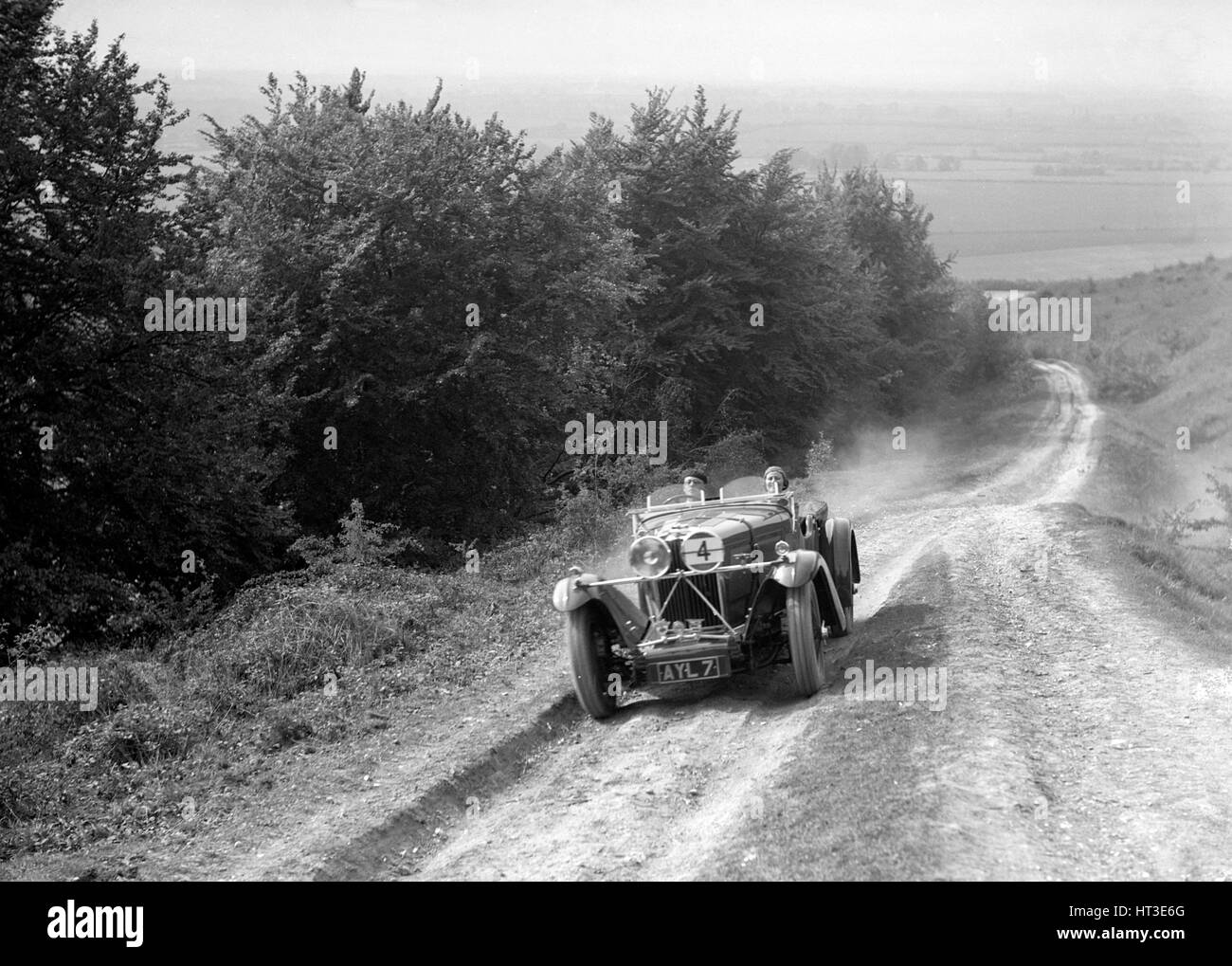 1934 Talbot 105 2970 cc competing in a Talbot CC trial. Artist: Bill Brunell. - Stock Image