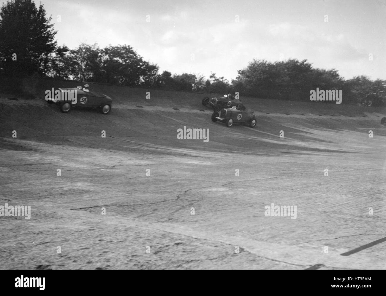 John Cobb and Tim Rose-Richards' Talbot 105s, BRDC 500 Mile Race, Byfleet Banking, Brooklands, 1931. Artist: - Stock Image