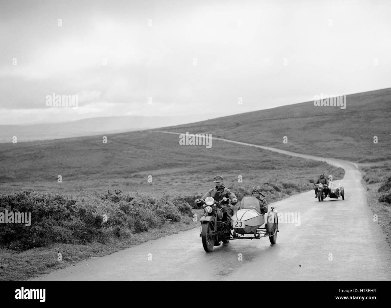 1208 cc Harley-Davidson and sidecar of RW Praill, winner of a silver award, MCC Torquay Rally, 1937. Artist: Bill - Stock Image