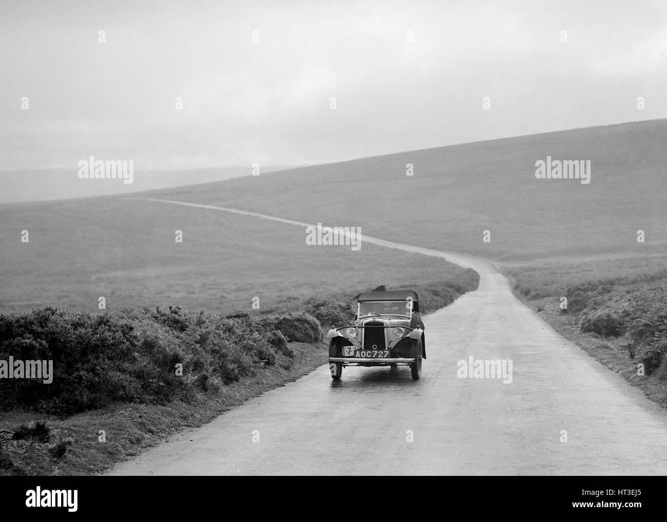 BSA 3 wheeler of EF Cope, winner of a premier award at the MCC Torquay Rally, July 1937. Artist: Bill Brunell. - Stock Image