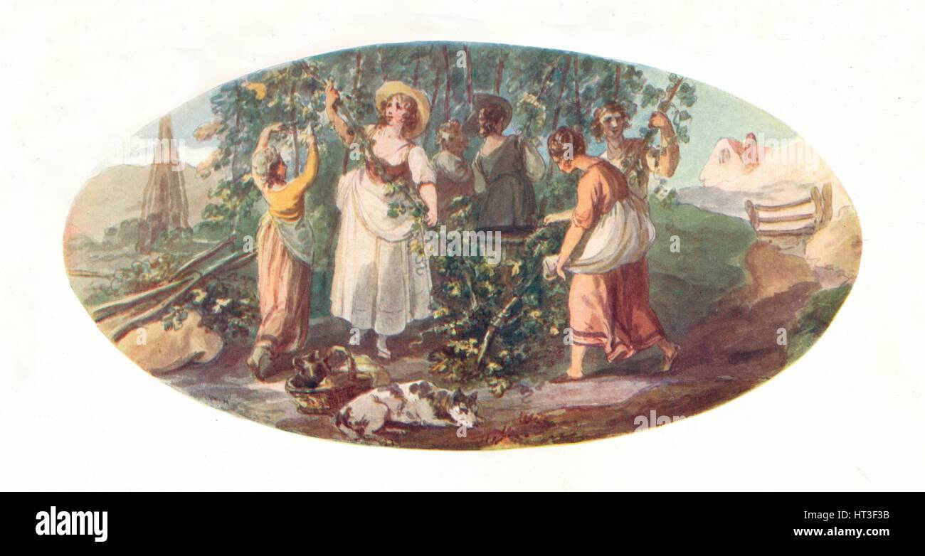 'Hop Picking', late 18th century, (1912). Artist: William Hamilton. - Stock Image