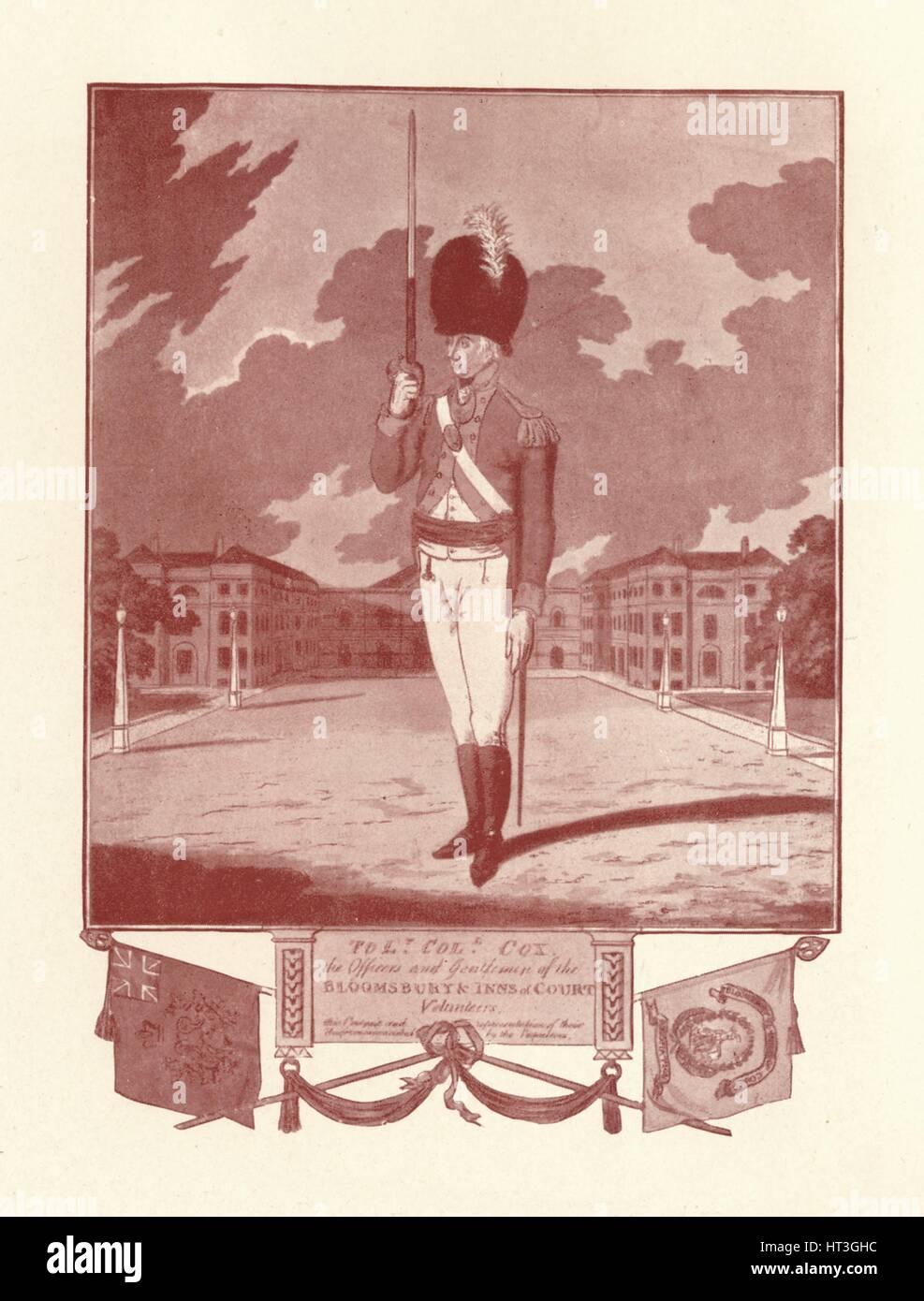 'Officers and Gentlemen of the Bloomsbury & Inns of Court Volunteers', 1780-1820, (1909).  Artist: Charles - Stock Image