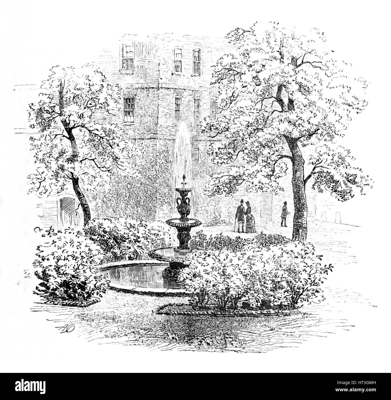 'The Fountain, Middle Temple', 1890. Artist: Unknown. - Stock Image