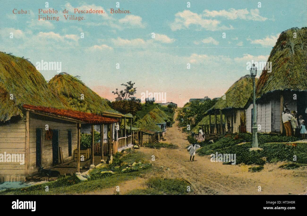 'Cuba: Pueblo de Pescadores. Bohios. Fishing Village', 1919. Artist: Unknown. - Stock Image