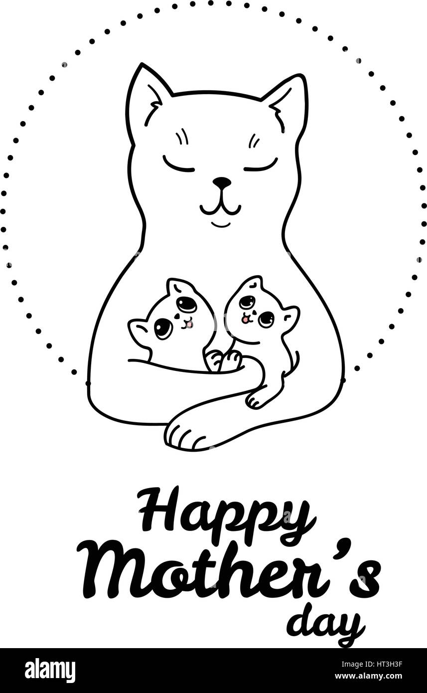 Happy mothers day vector design element greeting card template vector design element greeting card template illustration of mother cat with her adorable baby kittens m4hsunfo