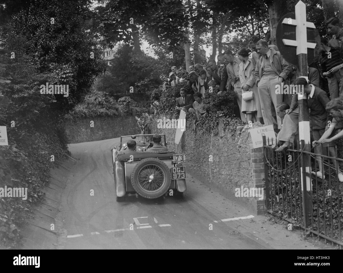 MG TA of CG Gibbs competing in the MCC Torquay Rally, 1938. Artist: Bill Brunell. - Stock Image