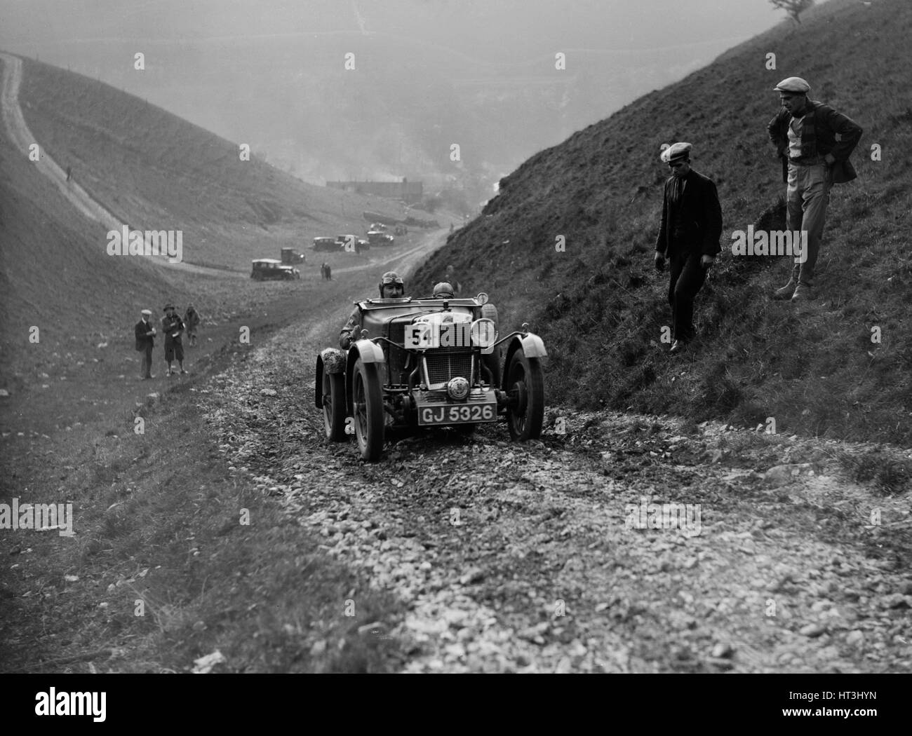 MG M Le Mans of CHD Berton competing in the MCC Sporting Trial, Litton Slack, Derbyshire, 1930. Artist: Bill Brunell. - Stock Image