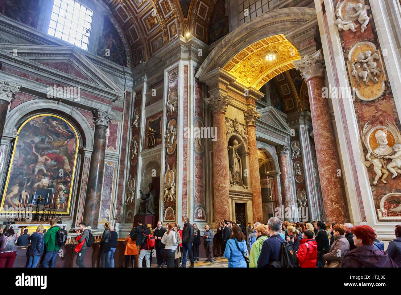 Detail within the Basilica of St Peter, Vatican City, Rome, Italy - Stock Image