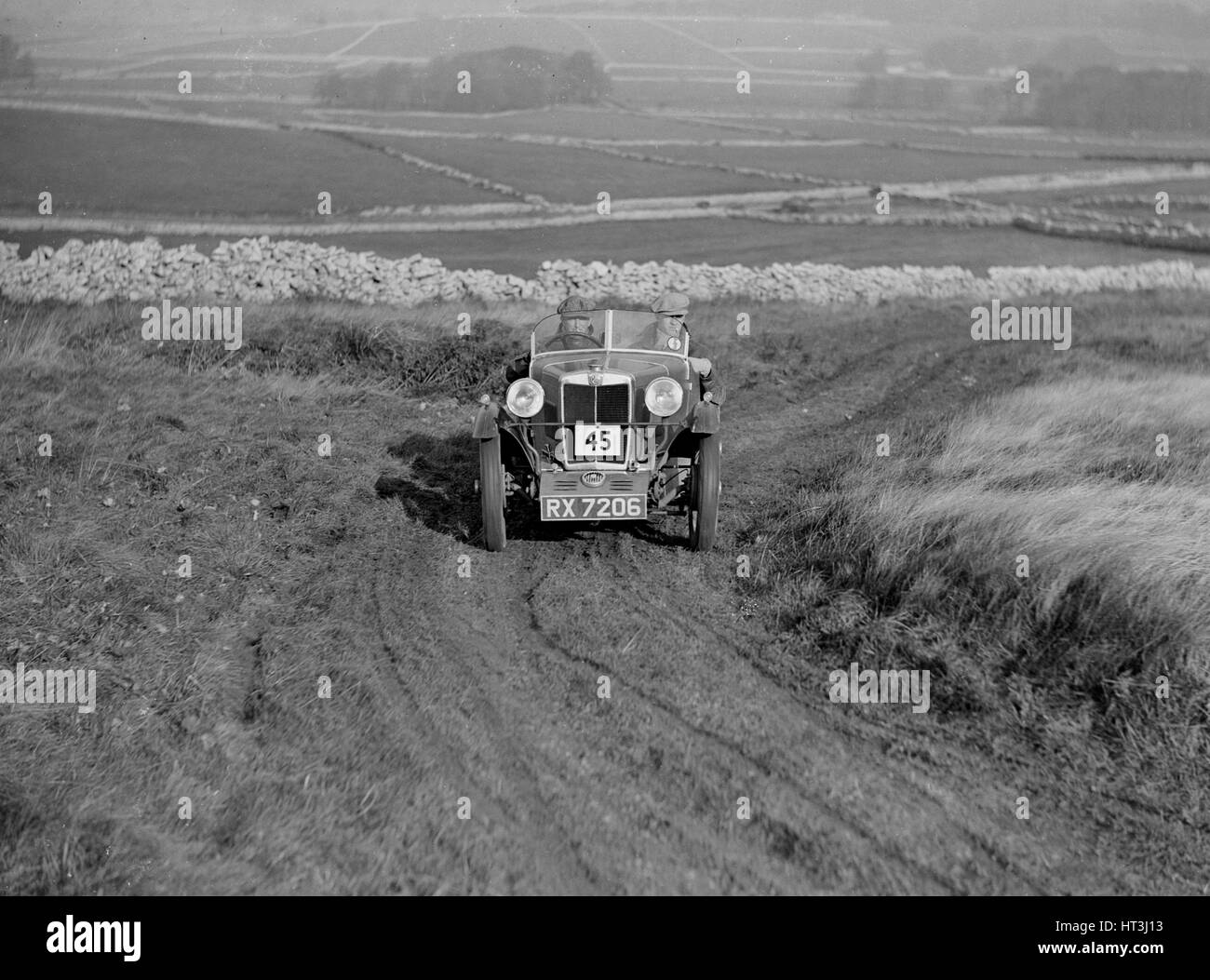 MG M type of LA Welch competing in the MCC Sporting Trial, 1930. Artist: Bill Brunell. - Stock Image