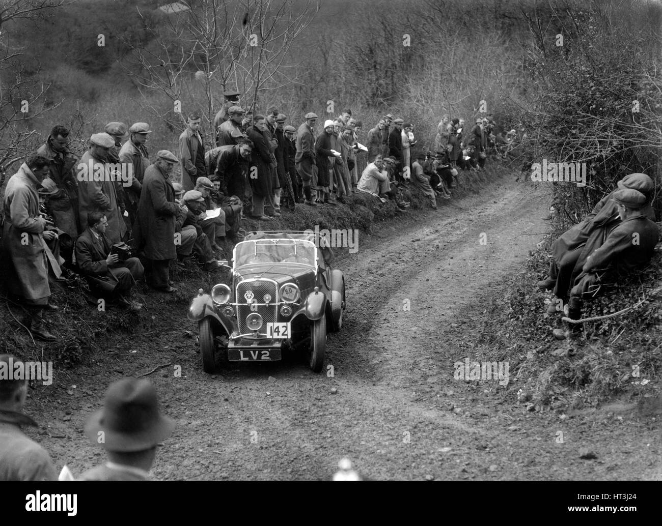Singer Le Mans of HM Hutton competing in the MCC Lands End Trial, 1935. Artist: Bill Brunell. - Stock Image