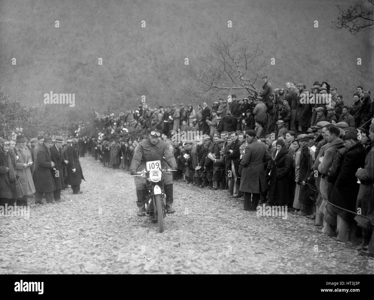 347 cc AJS of RW Cassam competing in the MCC Lands End Trial, Beggars Roost, Devon, 1936. Artist: Bill Brunell. Stock Photo