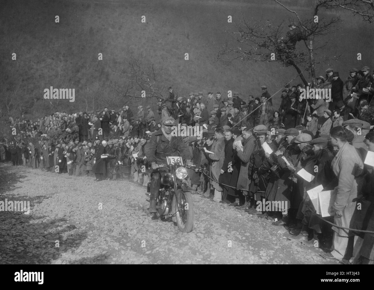 249 cc SOS Flat Top of RD Plunknett at the MCC Lands End Trial, Beggars Roost, Devon, 1936. Artist: Bill Brunell. - Stock Image