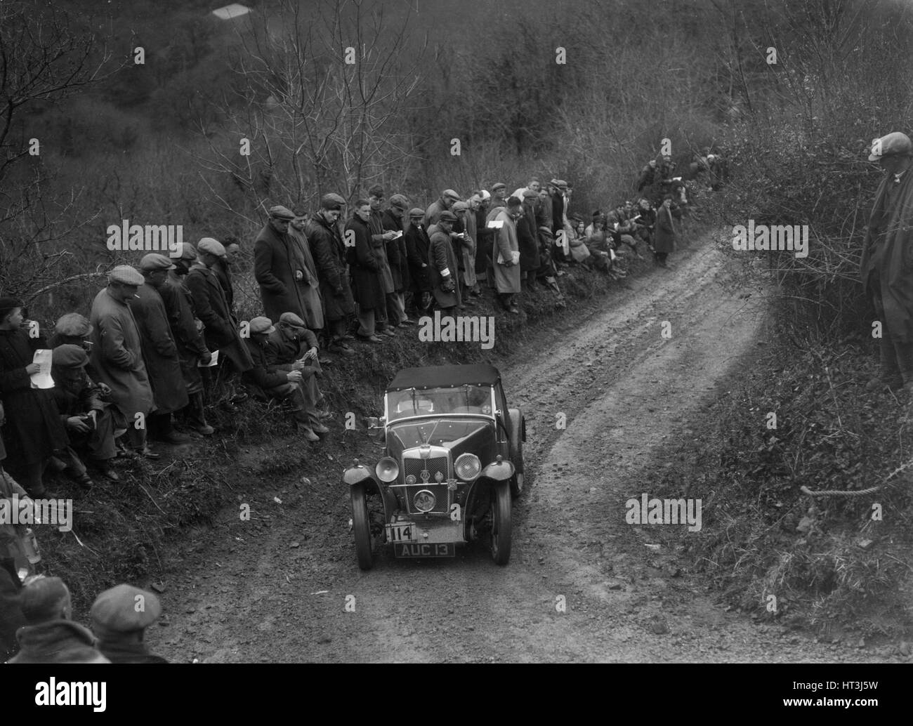 MG PA of JWS Johnson competing in the MCC Lands End Trial, 1935. Artist: Bill Brunell. - Stock Image